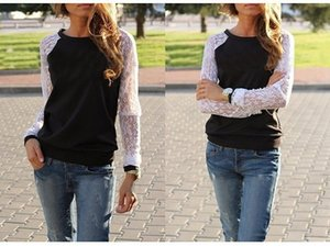 2019 designer New Autumn Sweet Style Lady Lace Sleeves Women Pullover Women Casual O-Neck Tops Sexy Hoodies Solid Color wholesale