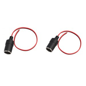 Waterproof Car Motorcycle Charger Power Cigarette Lighter Female Socket Adapter Converter + 1Feet 30cm Extension Cable, 10A, Pack of 2