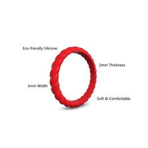Wedding Band Silicone Ring 10PCS Um conjunto torção 3 mm de largura Moda doces Color Fashion Couple Silicone Ring A03