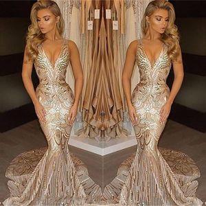 2020 Luxury Gold Evening Wear Prom Dresses collo della sirena V sexy dell'afroamericano promenade Vestiti Abiti Occasioni Speciali BA4582
