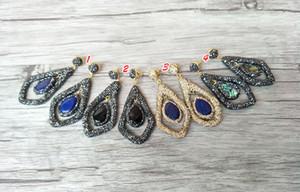 Doğal taş / abalone kabuk / lapis lazuli dangle Küpe, el yapımı Açacağı Kristal Rhinestone Charms Kadınlar Takı ER263