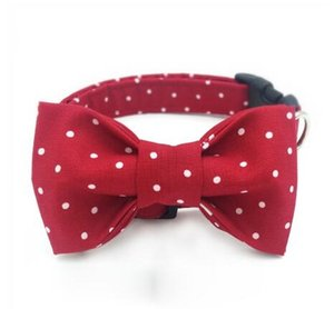 Red And White Dot Dog Collar Set With Flower Or Bow Tie Personal Custom Pet Puppy Product Dog &Cat Necklace Xs-Xl