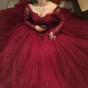 2020 새로운 부르고뉴 볼 가운 성인식 드레스 꺼짐 긴 소매 레이스 아플리케 페르시 (16) 푹신한 얇은 명주 그물 플러스 사이즈 댄스 파티 이브닝 가운을 어깨