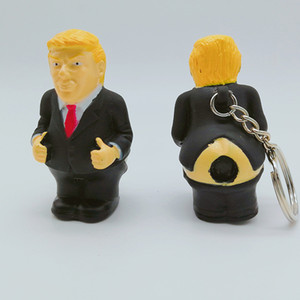 Trump Pendant Car Keyring President Keychain Bag Squeeze Funny Donald Trump Simulation Toy Poop Doll Spoof ALE301