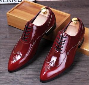 2020 Новый стиль европейского Qianruiti высокого качества скольжения на Мокасины Мужчины Блеск Шипастое обувь Royal Blue одуванчика Квартиры Свадебная обувь для мужчин