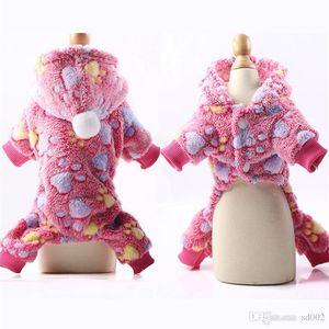 Sieben Farben-Streifen-Hündchen-Kleidung Flanell warm halten Haustiere Bekleidung Kitty-Wellen-Punkt Snowsuit Buttons Vier Fuß Art-Hut 9 5gcb1