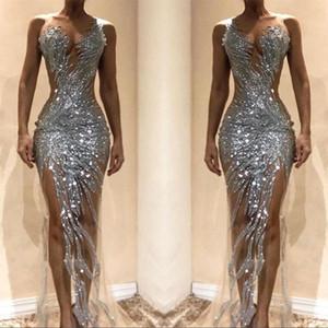 Splendidi abiti da ballo a sirena d'argento 2019 Sexy See Through Tulle Bodice Split Long Women Occasion Abiti da sera