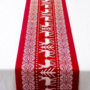 6 stili Cucina Da Pranzo Soggiorno Tovaglia Buon Natale Runner Natale Tovaglia Bandiere Alce Stampato Lino Decorazione Del Partito DH0252