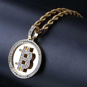 Creative Bitcoin Símbolo Rodada Pingente de Colar de Cobre Geométrica Banhado A Ouro Micro-embutido Zircon Colar Homens Hip-hop Acessórios Atacado