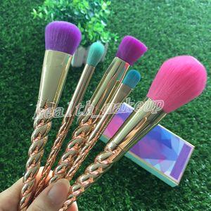 Makeup brushes sets cosmetics brush 5 pcs bright colors Rose Gold Spiral shank make up brush tools Powder Contour brushes free shipping