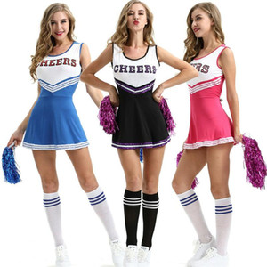 2020 New Sexy High School Cheerleader Costume Cheer Girls Uniform Party Outfit Pompoms summer dress