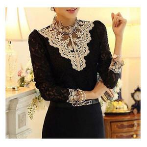 패션 긴 소매 바디 슈트는 메쉬 쉬폰 여성 의류 블라우스 탑스 크로 셰 뜨개질 여성 레이스 블라우스 셔츠를 페르시