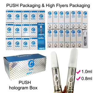 Las cookies PUSH cartuchos Vape Folletos 1 ml 0,8 ml de vidrio tanque vacío Vape Pen carros de cerámica de la bobina 510 Cartucho Vapes Packaging ecig Box