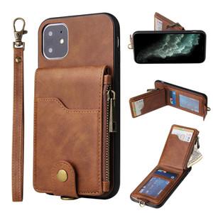 Couro de luxo com Zipper Casos Designer telefone para iPhone 11 Pro Max 6 7 8plus XS XR Multi-funcional Moda Gancho Mobile Phone Proteção