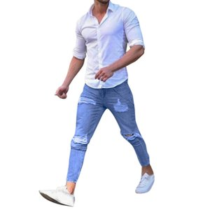 Erkek Delik Sıkı Yırtık Kot Yırtık Sıska Biker Jeans Ripped Tahrip Slim Fit Denim Pantolon Erkek Için