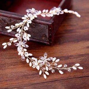 FORSEVEN El Yapımı Rhinestones Kristaller İnciler Çiçek Düğün Kafa Gelin Saç Vine Woemen Saç Aksesuarla JL