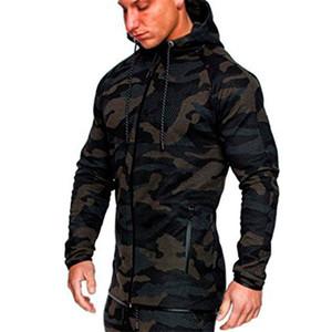 Contraste Brasão Color Plus Sizen Mens Camouflage Sportswear Sports Academia manga comprida com capuz Mens Moletons Com Zipper