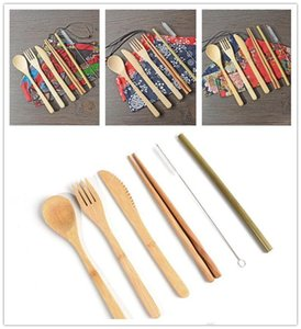 Bamboo Cutlery Set Portable Flatware Sets 7PCS SET Knife Fork Spoon Straw Chopsticks Student Tableware Set Travel