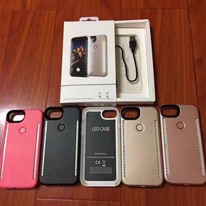 Perakende Ambalaj 50pcs ile iPhone X SE 6 7 8 Artı Selfie'nin Aydınlık Kapak Light Up Duo Vaka / yukarı