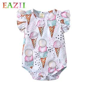 EAZII Cute Ice Cream Romper ребёнков Одежда Комбинезон Ромперы 0-2оГО Возраст Ifant Малыш Новорожденные Нижнее летние девочки Одежда