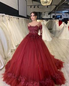 2020 Plus Size Arabic Aso Ebi Burgundy Sheer Neck Wedding Dresses Lace Beaded Long Sleeves Bridal Dresses Vintage Wedding Gowns ZJ365