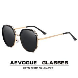 AEVOGUE New Women Metal Polygon Oversize Fashion Travel Polarized Sunglasses Gradient Lens Driving Glasses UV400 AE0840 CX200704