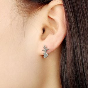 Electrocardiograph Ear Studs 3 Color Option Stud Earrings Ear Piercing Jewelry Gifts For Girls Ladies