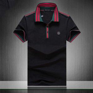 2019 Италия бренд дизайнер рубашка поло роскошные футболки змея пчела цветочная вышивка мужские поло High street fashion stripe print polo T-shirt