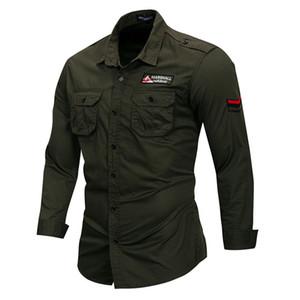 Stickerei Langarm Outdoor-Men Casual Shirts Revers Ausschnitt Army Green Plus Size Herren Shirts mit Taschen