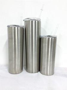Fedex / DHL 15 oz 20 oz 30 oz flaco tumbler flaco stee inoxidable vaso de doble pared clásico portátil con tapa y paja