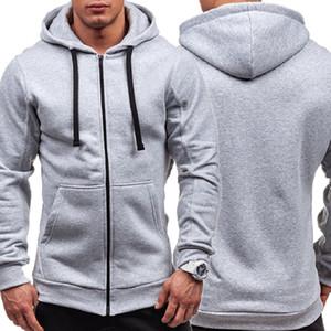 2019 tendencia de la moda de los hombres Zip Up apropiada delgada ocasional Hoodies Cuerdas de manga larga Tops Otoño Pre-Fall sólido de deporte