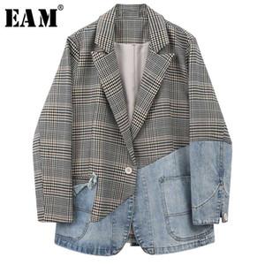 [EAM] Mulheres Blue Plaid Denim Dividir Blazer New lapela manga comprida solta Fit Jacket Moda Tide Primavera Outono 2020 1W813