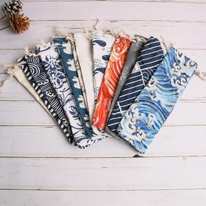 Japanischen stil tragbare geschirr aufbewahrungstasche veranstalter reisetasche kordelzug besteck tuch taschen fall für stroh löffel gabel messer 33 farben