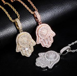Iced Out main de Fatima Hamsa collier pendentif CZ Copper Top qualité Zircon cubique bling bling pour cadeaux Hommes Femmes