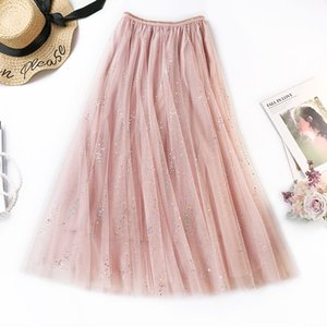 2019 spring and summer colorful sequins romantic sweet mesh skirt super fairy temperament skirt anti-light multi-layer 401