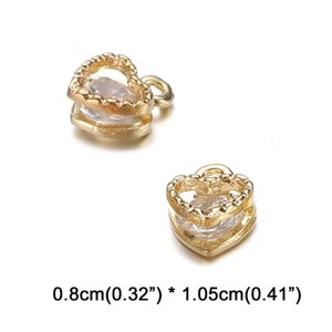 For Shining Small Zircon Accessories 10PCS Lots Charms Crystal Making Pendants DIY Heart Jewelry Dnlnx