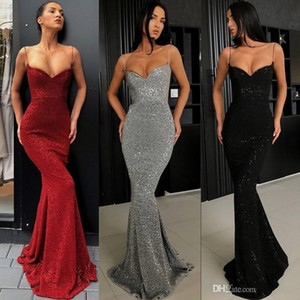 2019 Sexy Dark Gray Prom Dresses Full Sequins Spaghetti Straps Mermaid Long Evening Gowns Plus Size Custom Made Pageant Dresses BC0274
