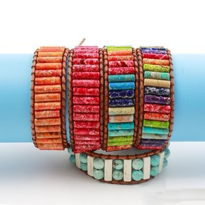 2019 4 Styles bunte natürliche Kaiser Stein Yoga-Armband Handgemachter Schmuck Adjustable Webart-Armbänder 7 Chakras Armband Freundschaft