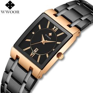 WWOOR relojes de los hombres reloj de cuarzo cuadrado de la marca de lujo de los hombres de negocios a prueba de agua reloj de pulsera hombre vestido reloj masculino Negro Oro Rosa SH190929