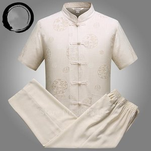 Summer Linen Short Sleeve Set Men Male Chinese Traditional Tang Suit Vintage Costume Buckle Embroidery Casual Shirt Pants Outfit