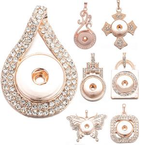 12 stili Rose Gold Colore Cristalli Ginger Snap Button monili Snap fascini del pendente della collana di 18 millimetri