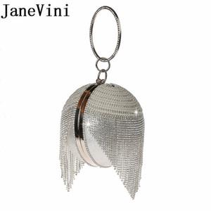 JaneVini argent strass mariée Sacs à main Embrayages balle Crossbody soir Sparkly cristal de la chaîne Perle Party 2019 Nouveau bracelets