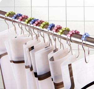 Ganchos de ducha anillos de cortina ganchos acero inoxidable clip de baño fácil deslizamiento gancho pulido ducha cortina nenillos cortina ganchos DHD23