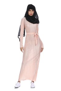 Lápis enrugado muçulmano saia pliss maxi dress trumpet manga abaya longo robes túnica do oriente médio ramadan árabe islâmico clothing