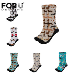 FORUDESIGNS nuova delle donne calzini Bassotto Reticolo della stampa su richiesta nero lungo di spessore Sport calzini Autunno Inverno all'aperto