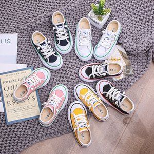 2020 Spring Autumn Children's Low Top Canvas Shoes Kid Boys Girls Casual Shoes White 5Kids Student Breathable Sneakers