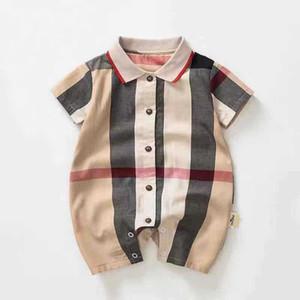2019 Sommer-Baby-Body Kurzarm Baumwolle Baby-Overall-Fest Baby Umlegekragen Strampler Neugeborene Baby-Kleidung