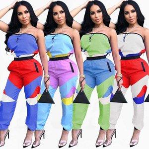 Verão Patchwork Strapless agasalho 2020 Womens Jumpsuit macacãozinho Pockets Zippers Imprimir Magro Macacão Combinaison Streetwear