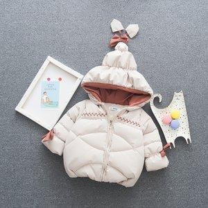 ملابس اطفال شتاء الرضع فتاة مقنع البدلة الدافئة طفل الاطفال القطن رشاقته معطف الوليد بنات سترة زيبر الحراري خارجية