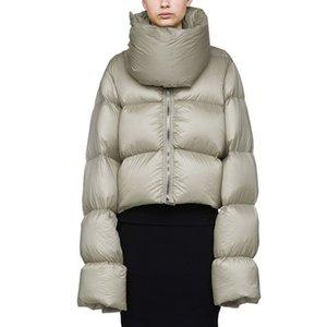 Femmes col coupe-vent High High Collier chaud Lâche Blanc Duck Down Jacket 2018 Mode Short Hiver Jacket Manteau Femelle Feather Parka LS171
